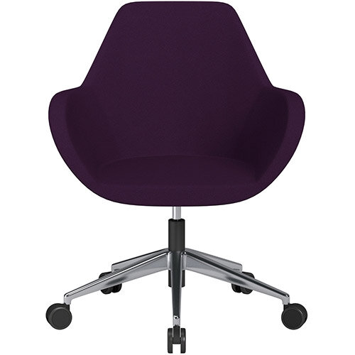 Fan Swivel Armchair with Economic Mechanism 5 Star Base Purple Evo Fabric Seat &Polished Aluminium Base with Castors for Soft Floors - Perfect Seating Solution for Breakout, Reception Areas &Boardroom