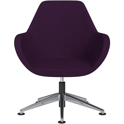 Fan Swivel Armchair with Economic Mechanism 5 Star Base Purple Evo Fabric Seat &Polished Aluminium Base with Universal Teflon Glides - Perfect Seating Solution for Breakout, Reception Areas &Boardroom
