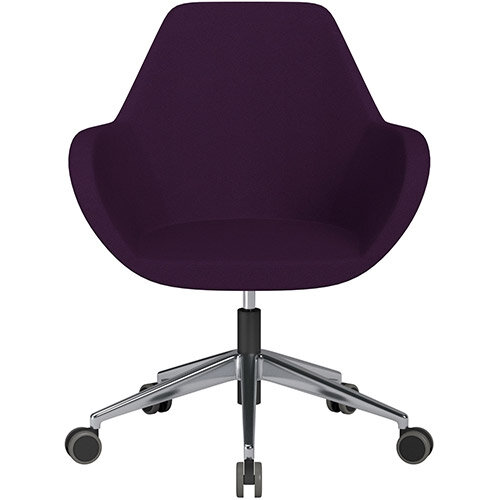 Fan Swivel Armchair with Economic Mechanism 5 Star Base Purple Evo Fabric Seat &Polished Aluminium Base with Castors for Hard Floors - Perfect Seating Solution for Breakout, Reception Areas &Boardroom