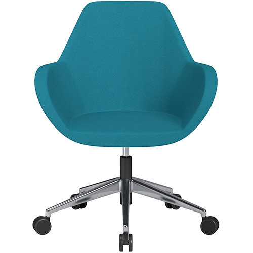 Fan Swivel Armchair with Economic Mechanism 5 Star Base Aquamarine Evo Fabric Seat &Polished Aluminium Base with Castors for Soft Floors - Perfect Seating Solution for Breakout, Reception Areas &Boardroom