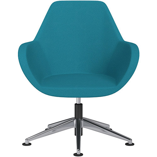Fan Swivel Armchair with Economic Mechanism 5 Star Base Aquamarine Evo Fabric Seat &Polished Aluminium Base with Universal Teflon Glides - Perfect Seating Solution for Breakout, Reception Areas &Boardroom
