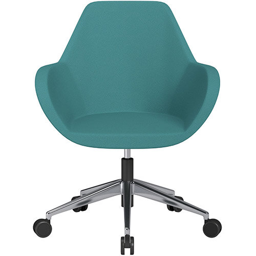 Fan Swivel Armchair with Economic Mechanism 5 Star Base Aqua Green Evo Fabric Seat &Polished Aluminium Base with Castors for Soft Floors - Perfect Seating Solution for Breakout, Reception Areas &Boardroom