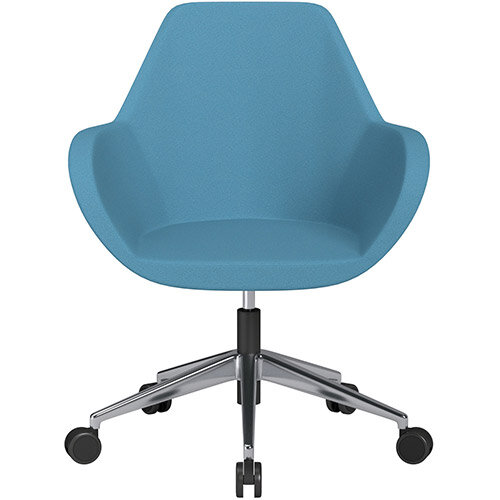 Fan Swivel Armchair with Economic Mechanism 5 Star Base Light Blue Evo Fabric Seat &Polished Aluminium Base with Castors for Soft Floors - Perfect Seating Solution for Breakout, Reception Areas &Boardroom