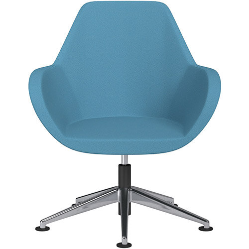 Fan Swivel Armchair with Economic Mechanism 5 Star Base Light Blue Evo Fabric Seat &Polished Aluminium Base with Universal Teflon Glides - Perfect Seating Solution for Breakout, Reception Areas &Boardroom