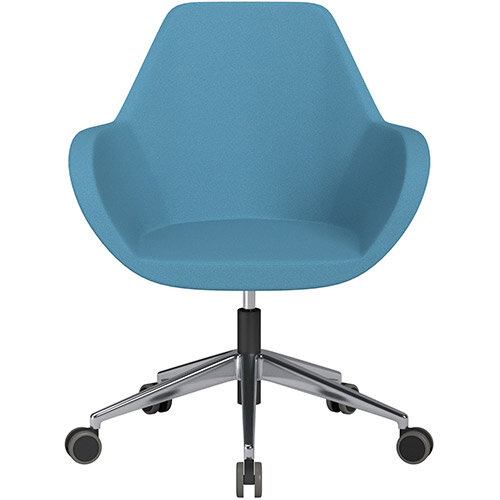 Fan Swivel Armchair with Economic Mechanism 5 Star Base Light Blue Evo Fabric Seat &Polished Aluminium Base with Castors for Hard Floors - Perfect Seating Solution for Breakout, Reception Areas &Boardroom