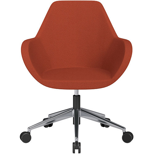 Fan Swivel Armchair with Economic Mechanism 5 Star Base Dark Orange Evo Fabric Seat &Polished Aluminium Base with Castors for Soft Floors - Perfect Seating Solution for Breakout, Reception Areas &Boardroom