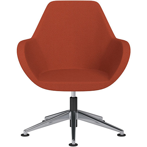 Fan Swivel Armchair with Economic Mechanism 5 Star Base Dark Orange Evo Fabric Seat &Polished Aluminium Base with Universal Teflon Glides - Perfect Seating Solution for Breakout, Reception Areas &Boardroom