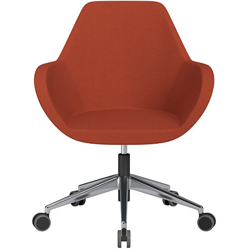 Fan Swivel Armchair with Economic Mechanism 5 Star Base Dark Orange Evo Fabric Seat &Polished Aluminium Base with Castors for Hard Floors - Perfect Seating Solution for Breakout, Reception Areas &Boardroom