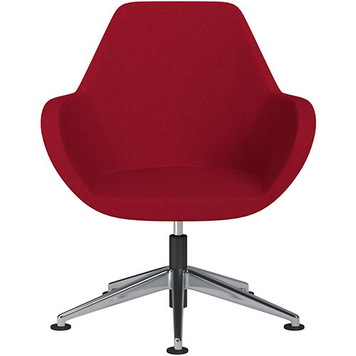 Fan Swivel Armchair with Economic Mechanism 5 Star Base Red Evo Fabric Seat &Polished Aluminium Base with Universal Teflon Glides - Perfect Seating Solution for Breakout, Reception Areas &Boardroom