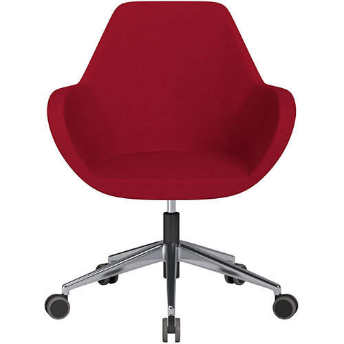 Fan Swivel Armchair with Economic Mechanism 5 Star Base Red Evo Fabric Seat &Polished Aluminium Base with Castors for Hard Floors - Perfect Seating Solution for Breakout, Reception Areas &Boardroom