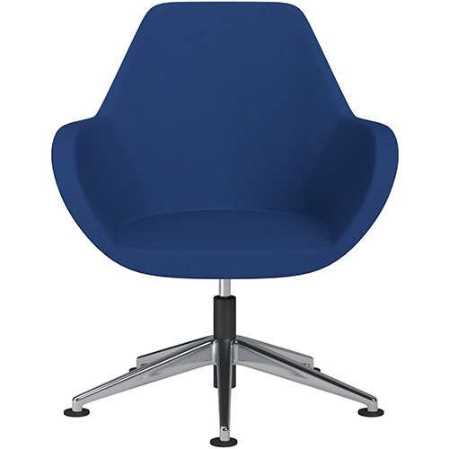 Fan Swivel Armchair with Economic Mechanism 5 Star Base Blue Evo Fabric Seat &Polished Aluminium Base with Universal Teflon Glides - Perfect Seating Solution for Breakout, Reception Areas &Boardroom