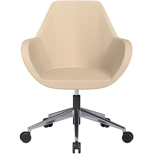 Fan Swivel Armchair with Economic Mechanism 5 Star Base Beige Softline Leather Look Seat &Polished Aluminium Base with Castors for Soft Floors - Perfect Seating Solution for Breakout, Reception Areas &Boardroom