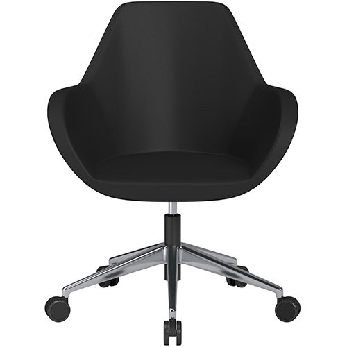 Fan Swivel Armchair with Economic Mechanism 5 Star Base Black Softline Leather Look Seat &Polished Aluminium Base with Castors for Soft Floors - Perfect Seating Solution for Breakout, Reception Areas &Boardroom