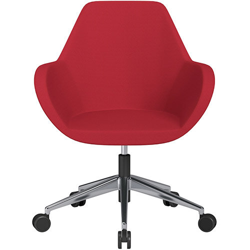 Fan Swivel Armchair with Economic Mechanism 5 Star Base Vivid Red Sprint Fabric Seat &Polished Aluminium Base with Castors for Soft Floors - Perfect Seating Solution for Breakout, Reception Areas &Boardroom