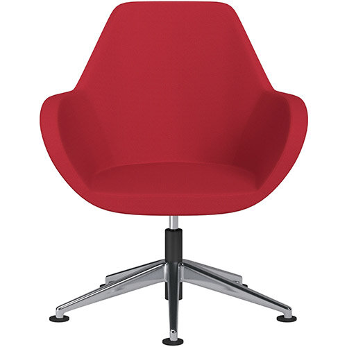 Fan Swivel Armchair with Economic Mechanism 5 Star Base Vivid Red Sprint Fabric Seat &Polished Aluminium Base with Universal Teflon Glides - Perfect Seating Solution for Breakout, Reception Areas &Boardroom