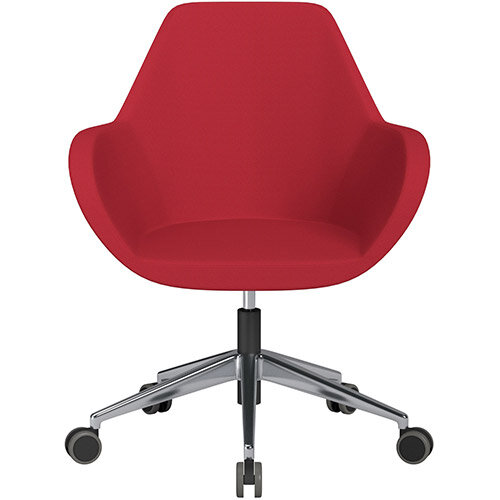 Fan Swivel Armchair with Economic Mechanism 5 Star Base Vivid Red Sprint Fabric Seat &Polished Aluminium Base with Castors for Hard Floors - Perfect Seating Solution for Breakout, Reception Areas &Boardroom