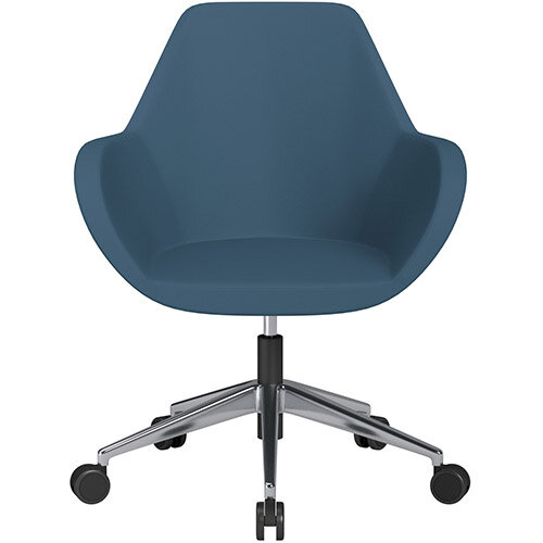 Fan Swivel Armchair with Economic Mechanism 5 Star Base Aqua Blue Valencia Leather Look Seat &Polished Aluminium Base with Castors for Soft Floors - Perfect Seating Solution for Breakout, Reception Areas &Boardroom