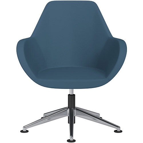 Fan Swivel Armchair with Economic Mechanism 5 Star Base Aqua Blue Valencia Leather Look Seat &Polished Aluminium Base with Universal Teflon Glides - Perfect Seating Solution for Breakout, Reception Areas &Boardroom