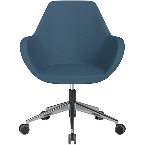 Fan Swivel Armchair with Economic Mechanism 5 Star Base Aqua Blue Valencia Leather Look Seat &Polished Aluminium Base with Castors for Hard Floors - Perfect Seating Solution for Breakout, Reception Areas &Boardroom