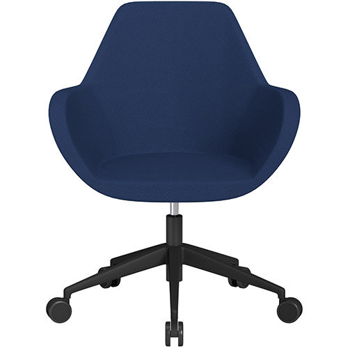 Fan Swivel Armchair with Economic Mechanism 5 Star Base Navy Evo Fabric Seat &Black Base with Castors for Soft Floors - Perfect Seating Solution for Breakout, Reception Areas &Boardroom