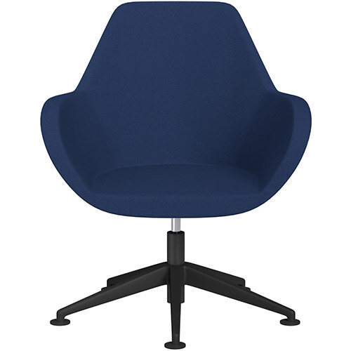 Fan Swivel Armchair with Economic Mechanism 5 Star Base Navy Evo Fabric Seat &Black Base with Universal Teflon Glides - Perfect Seating Solution for Breakout, Reception Areas &Boardroom