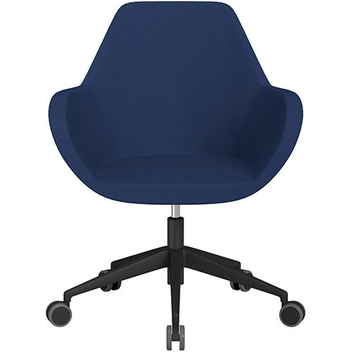 Fan Swivel Armchair with Economic Mechanism 5 Star Base Navy Evo Fabric Seat &Black Base with Castors for Hard Floors - Perfect Seating Solution for Breakout, Reception Areas &Boardroom