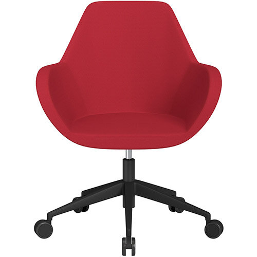 Fan Swivel Armchair with Economic Mechanism 5 Star Base Vivid Red Sprint Fabric Seat &Black Base with Castors for Soft Floors - Perfect Seating Solution for Breakout, Reception Areas &Boardroom