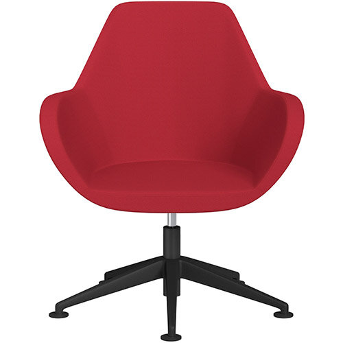 Fan Swivel Armchair with Economic Mechanism 5 Star Base Vivid Red Sprint Fabric Seat &Black Base with Universal Teflon Glides - Perfect Seating Solution for Breakout, Reception Areas &Boardroom
