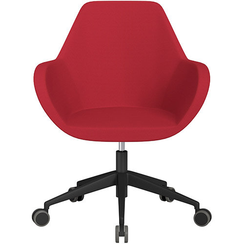 Fan Swivel Armchair with Economic Mechanism 5 Star Base Vivid Red Sprint Fabric Seat &Black Base with Castors for Hard Floors - Perfect Seating Solution for Breakout, Reception Areas &Boardroom
