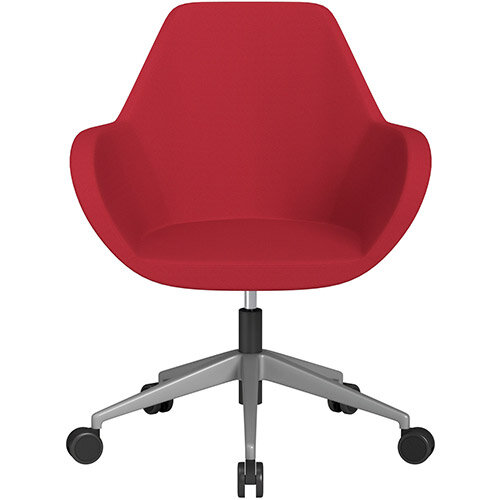 Fan Swivel Armchair with Economic Mechanism 5 Star Base Vivid Red Sprint Fabric Seat &Metallic Silver Base with Castors for Soft Floors - Perfect Seating Solution for Breakout, Reception Areas &Boardroom