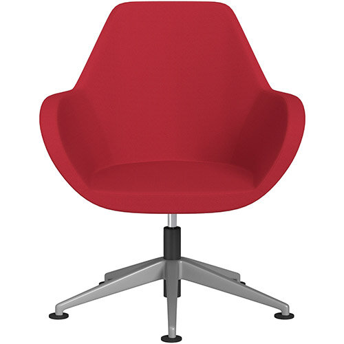 Fan Swivel Armchair with Economic Mechanism 5 Star Base Vivid Red Sprint Fabric Seat &Metallic Silver Base with Universal Teflon Glides - Perfect Seating Solution for Breakout, Reception Areas &Boardroom