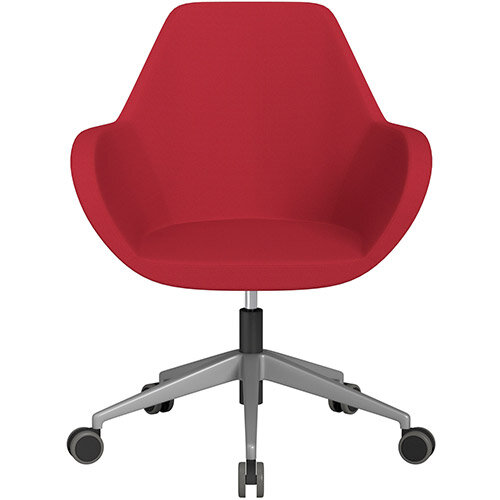 Fan Swivel Armchair with Economic Mechanism 5 Star Base Vivid Red Sprint Fabric Seat &Metallic Silver Base with Castors for Hard Floors - Perfect Seating Solution for Breakout, Reception Areas &Boardroom