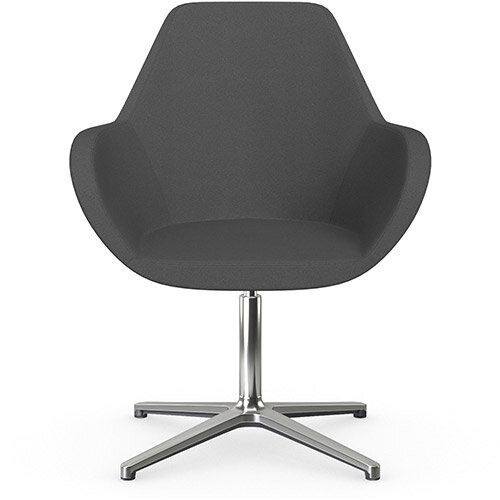 Fan Swivel Armchair with 4 Star Base Dark Grey Evo Fabric Seat &Polished Aluminium Base - Perfect Seating Solution for Breakout, Reception Areas &Boardroom