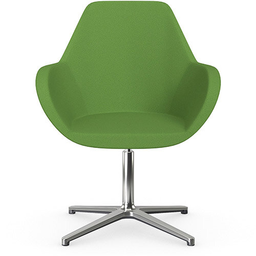 Fan Swivel Armchair with 4 Star Base Green Evo Fabric Seat &Polished Aluminium Base - Perfect Seating Solution for Breakout, Reception Areas &Boardroom