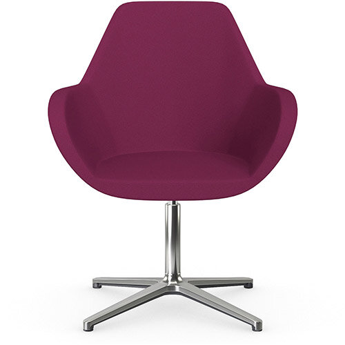 Fan Swivel Armchair with 4 Star Base Pink Evo Fabric Seat &Polished Aluminium Base - Perfect Seating Solution for Breakout, Reception Areas &Boardroom