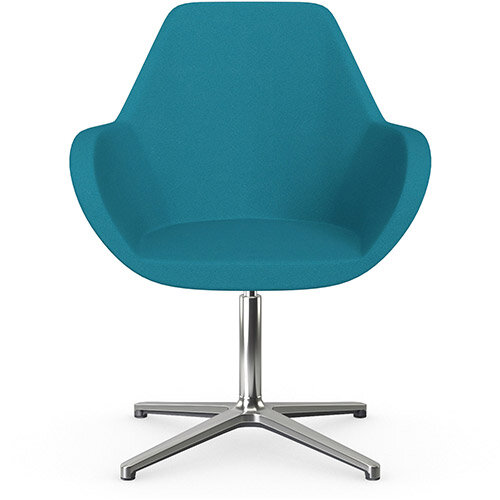 Fan Swivel Armchair with 4 Star Base Aquamarine Evo Fabric Seat &Polished Aluminium Base - Perfect Seating Solution for Breakout, Reception Areas &Boardroom