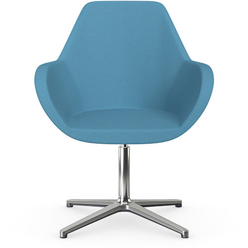 Fan Swivel Armchair with 4 Star Base Light Blue Evo Fabric Seat &Polished Aluminium Base - Perfect Seating Solution for Breakout, Reception Areas &Boardroom