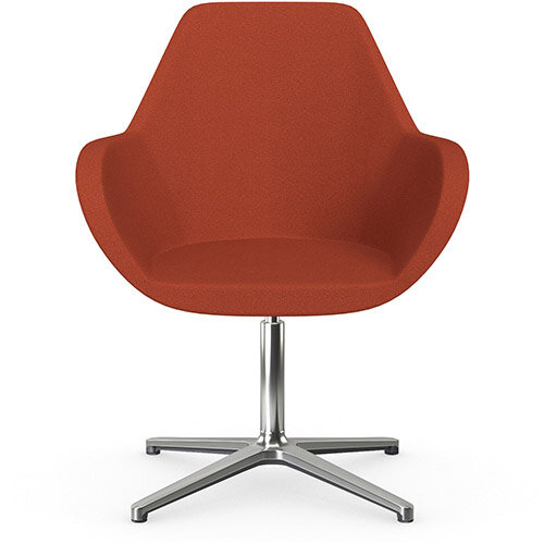 Fan Swivel Armchair with 4 Star Base Dark Orange Evo Fabric Seat &Polished Aluminium Base - Perfect Seating Solution for Breakout, Reception Areas &Boardroom