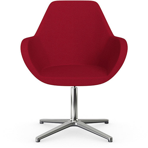 Fan Swivel Armchair with 4 Star Base Red Evo Fabric Seat &Polished Aluminium Base - Perfect Seating Solution for Breakout, Reception Areas &Boardroom