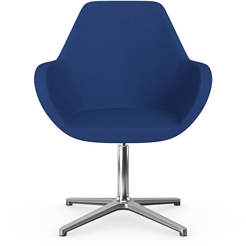 Fan Swivel Armchair with 4 Star Base Blue Evo Fabric Seat &Polished Aluminium Base - Perfect Seating Solution for Breakout, Reception Areas &Boardroom