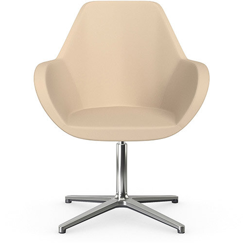 Fan Swivel Armchair with 4 Star Base Beige Softline Leather Look Seat &Polished Aluminium Base - Perfect Seating Solution for Breakout, Reception Areas &Boardroom