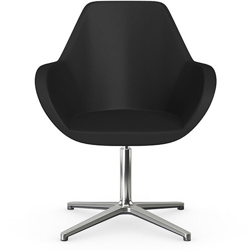 Fan Swivel Armchair with 4 Star Base Black Softline Leather Look Seat &Polished Aluminium Base - Perfect Seating Solution for Breakout, Reception Areas &Boardroom