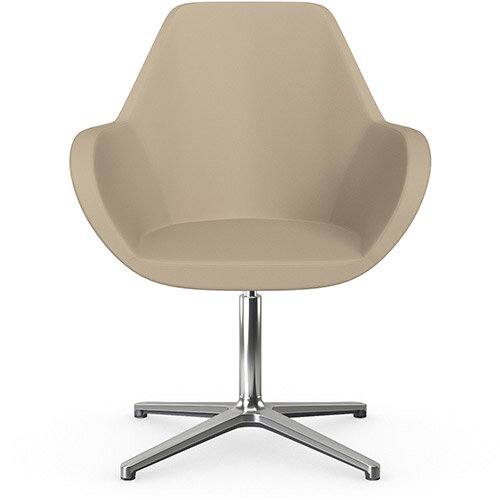Fan Swivel Armchair with 4 Star Base Light Brown Softline Leather Look Seat &Polished Aluminium Base - Perfect Seating Solution for Breakout, Reception Areas &Boardroom