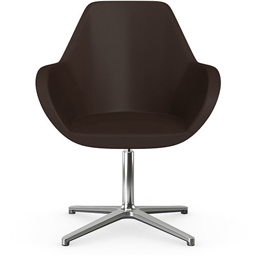 Fan Swivel Armchair with 4 Star Base Brown Softline Leather Look Seat &Polished Aluminium Base - Perfect Seating Solution for Breakout, Reception Areas &Boardroom