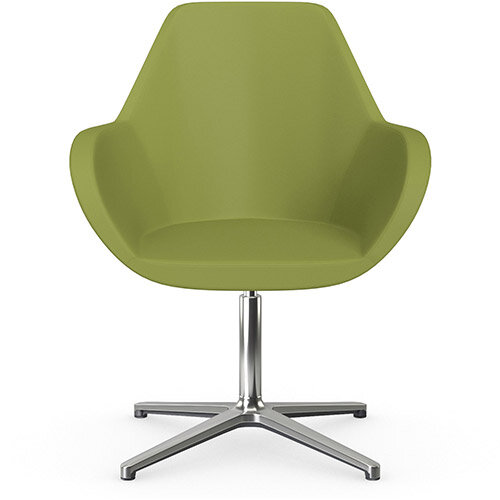 Fan Swivel Armchair with 4 Star Base Olive Green Softline Leather Look Seat &Polished Aluminium Base - Perfect Seating Solution for Breakout, Reception Areas &Boardroom