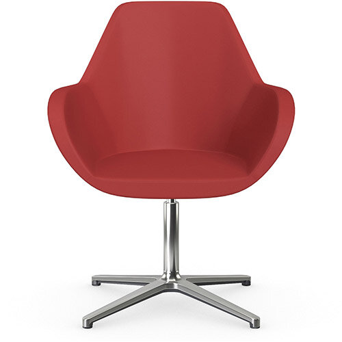 Fan Swivel Armchair with 4 Star Base Light Red Softline Leather Look Seat &Polished Aluminium Base - Perfect Seating Solution for Breakout, Reception Areas &Boardroom