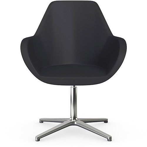 Fan Swivel Armchair with 4 Star Base Dark Purple Softline Leather Look Seat &Polished Aluminium Base - Perfect Seating Solution for Breakout, Reception Areas &Boardroom