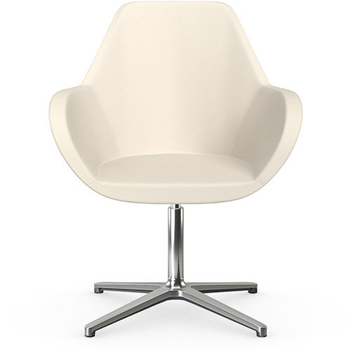 Fan Swivel Armchair with 4 Star Base White Softline Leather Look Seat &Polished Aluminium Base - Perfect Seating Solution for Breakout, Reception Areas &Boardroom