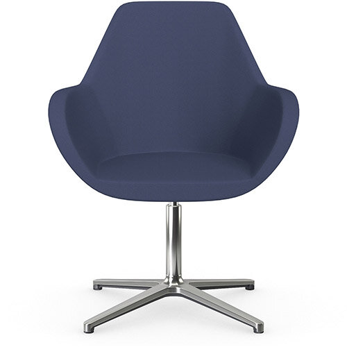 Fan Swivel Armchair with 4 Star Base Light Purple Sprint Fabric Seat &Polished Aluminium Base - Perfect Seating Solution for Breakout, Reception Areas &Boardroom