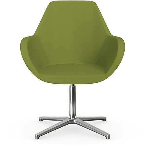 Fan Swivel Armchair with 4 Star Base Olive Green Sprint Fabric Seat &Polished Aluminium Base - Perfect Seating Solution for Breakout, Reception Areas &Boardroom